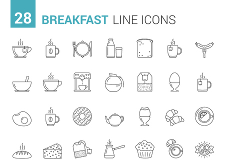 28 Breakfast line icons, morning food and drinks icons