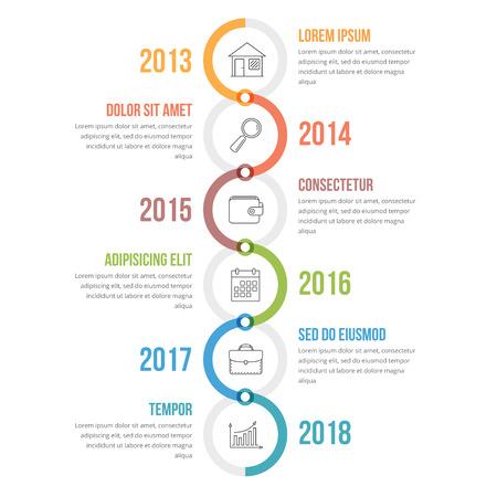 Szablon infografiki pionowej osi czasu z kolorowymi okręgami, schematem przepływu pracy lub procesu