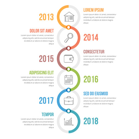 Vertical timeline infographics template with colorful circles, workflow or process diagram