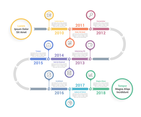 Timeline infographics template with arrows, workflow or process diagram, vector  illustration Vectores