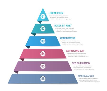 6要素の概念を持つインフォグラフィックカラフルなテンプレートのピラミッドデザイン  イラスト・ベクター素材