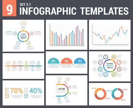 9 infographic templates, set 3, colors 1 - timeline, bar and line charts, pie chart, percents, steps/options, circle diagram
