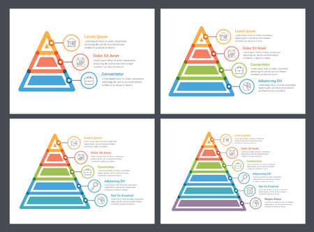 Pyramid infographic templates, 3, 4, 5 and 6 elements