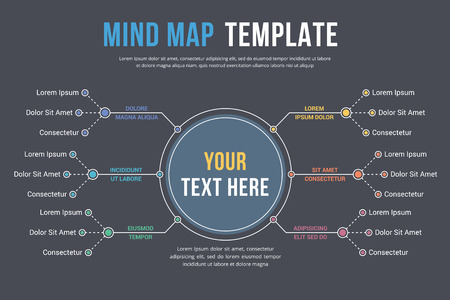 Abstract mind map template design, business info-graphics illustration.