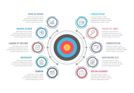 Info-graphic template with target with ten steps or options, workflow, process diagram.