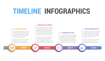 Timeline info-graphics template design, workflow or process diagram. Vettoriali