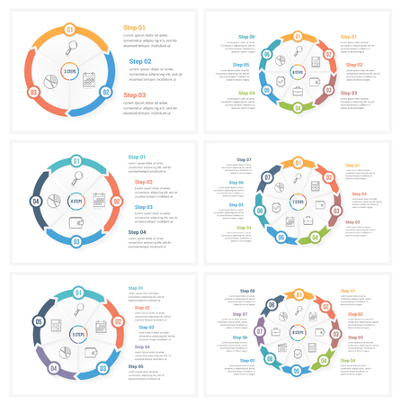 Circle infographic templates with 3, 4, 5, 6, 7 and 8 elements, steps or options, workflow or process diagram