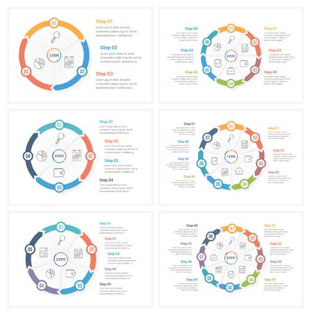 Cerchia i modelli di infografica con 3, 4, 5, 6, 7 e 8 elementi, passaggi o opzioni, flusso di lavoro o diagramma di processo Vettoriali