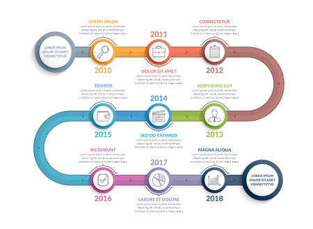 Colorful timeline infographics template with 9 steps, workflow, process, history diagram Stock Illustratie