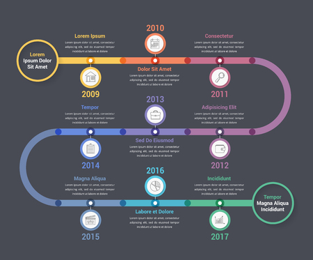 Timeline infographics template with colorful circles, workflow or process diagram 向量圖像