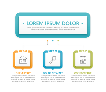 Infographic template with main idea and 3 steps or options, workflow, process chart