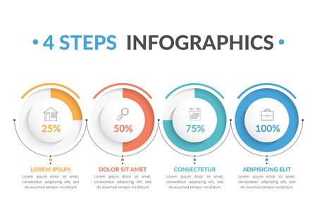 Modello di infografica con quattro indicatori di progresso rotondi, quattro passaggi infografica, flusso di lavoro, diagramma di processo