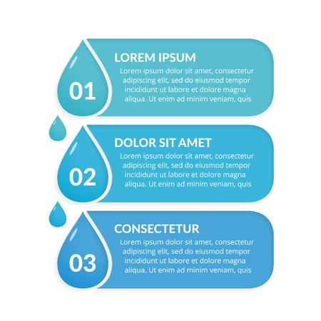 Infografik Vorlage mit drei Schritten mit Wassertropfen, Wasser Infografiken