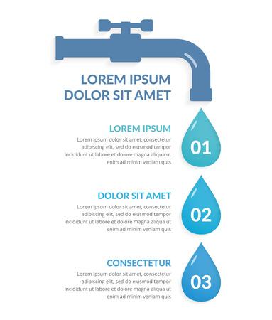 Modèle d'infographie en trois étapes avec des gouttes d'eau, infographie de l'eau, illustration vectorielle eps10 Vecteurs