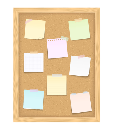 Eight blank paper notes on vertical bulletin board