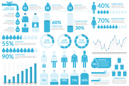 Water infographic elements - drops, bottles, people, graphs, percents,vector illustration Çizim