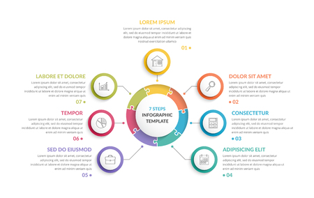 Circle infographic template with round puzzle with seven steps or options, process chart, creative business infographics Çizim