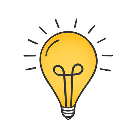 Hand drawn yellow light bulb on white background, solution or idea concept.