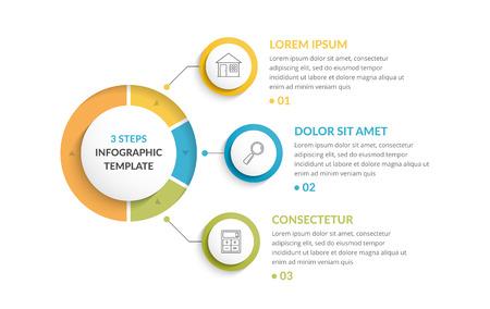 Modèle d'infographie avec trois étapes ou options, flux de travail ou diagramme de processus Vecteurs