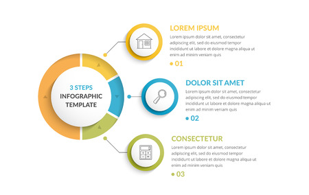 Infographic template with three steps or options, workflow or process diagram
