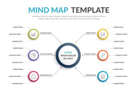 Plantilla de mapa mental Absrtact, infografías de negocios Ilustración de vector