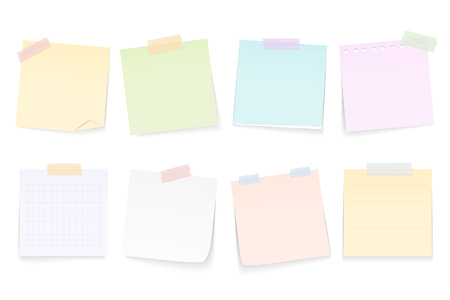 Blank paper notes attached by adhesive tape, white background