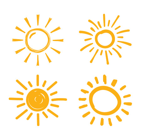 Four hand drawn suns on white background, vector eps10 illustration