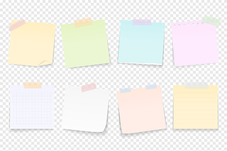 Blank paper notes attached by adhesive tape Ilustracja