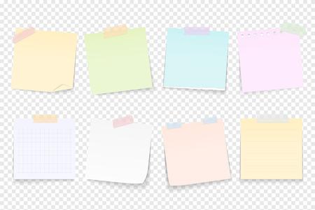 Note di carta in bianco attaccate da nastro adesivo