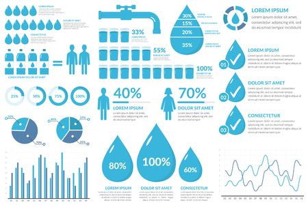 Water infographic elements - drops, bottles, people, graphs, percents Illustration