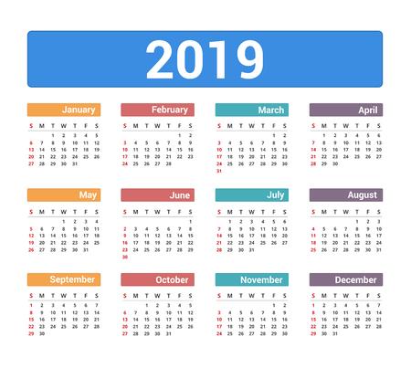 2019 Calendar, week starts on Sunday