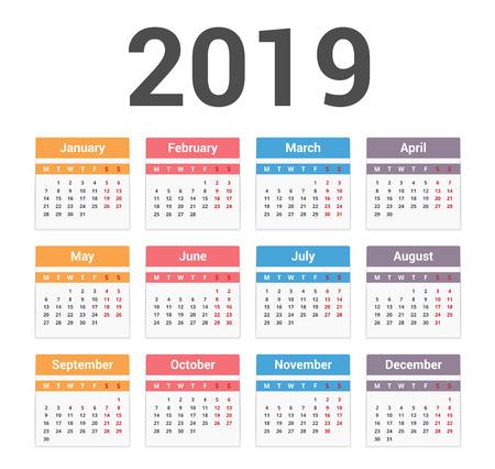 Calendario 2019, la semana comienza el lunes, ilustración vectorial eps10