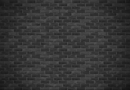 Horizontal black brick wall with shadow, vector eps10 illustration