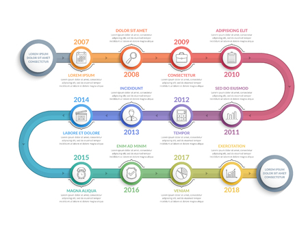 Colorful timeline infographics template with 12 steps, workflow, process, history diagram, vector eps10 illustration