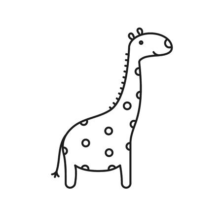 Giraffe line icon on white background