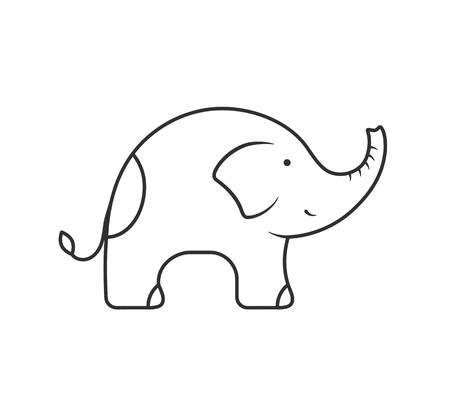 Elephant line icon on white background, vector eps10 illustration
