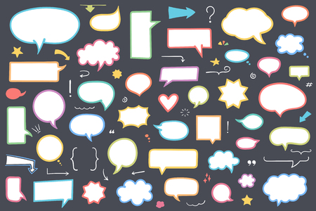 Collection of colored hand drawn speech bubbles, arrows and other design elements, vector eps10 illustration