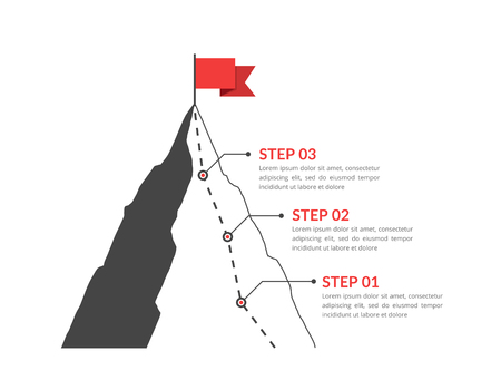 Mountain with red flag and with route to the top, three steps to success Ilustração