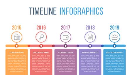 Plantilla de infografías de línea de tiempo horizontal con círculos de colores, flujo de trabajo o diagrama de proceso Ilustración de vector