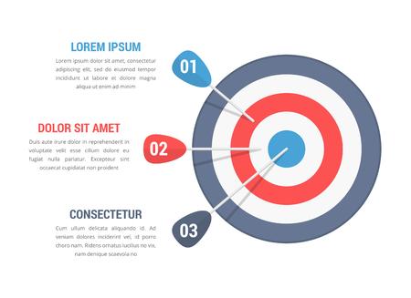 Obiettivo con tre frecce, tre passaggi o opzioni infografiche