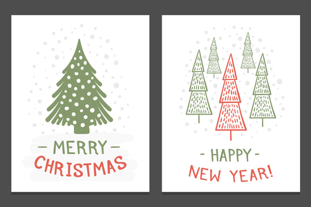 Christmas cards with hand drawn Christmas trees, vector eps10 illustration