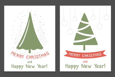 Christmas cards with hand drawn Christmas trees