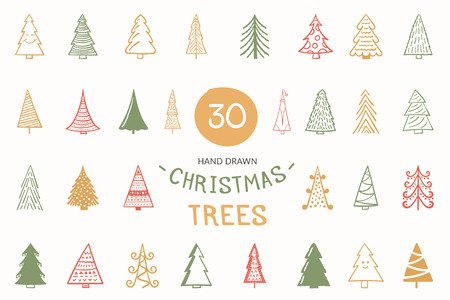 30 Colored hand drawn Christmas trees, vector eps10 illustration