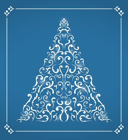 Christmas card with abstract Chistmas tree on blue background