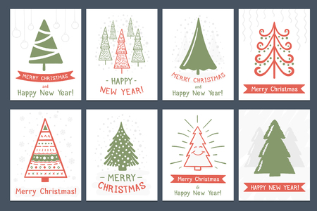Set of 8 Christmas cards with hand drawn Christmas trees