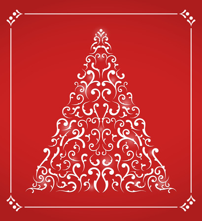 Christmas card with abstract Chistmas tree on red background Ilustrace