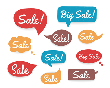 Set of colored hand drawn speech bubbles with word Sale Stock Illustratie