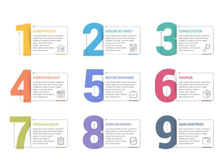 Zestaw dziewięciu liczb z miejscem na tekst, może służyć jako kroki, opcje, projekt procesu, przepływ pracy, ilustracja wektorowa eps10
