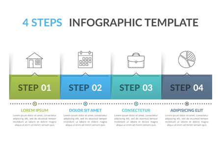 Infographic template with 4 steps, workflow, process chart