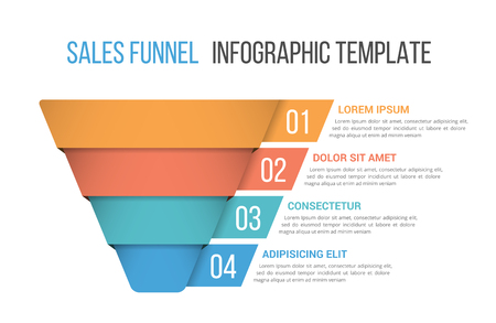 Funnel diagram, business infographic template Stock Illustratie